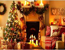 1.5 * 2.1m Backdrop Christmas Tree Fireplace Photo