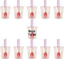 1 Bride to Be Shot Glass & 11 Willy Shot Glasses