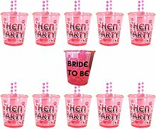 1 Bride to Be Shot Glass & 9 Hen Party Shot