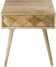 1-drawer bedside table in gold-effect mango wood