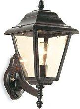 1 Light Outdoor 4 Panel Lantern - Uplight Black