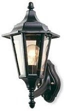 1 Light Outdoor 6 Panel Lantern - Uplight Black