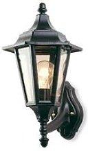 1 Light Outdoor 6 Panel Lantern - Uplight Black