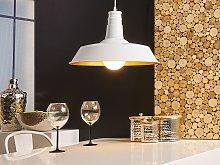 1 Light White Ceiling Pendant Lamp Round Shade