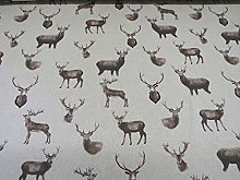 1 Metre |100% Linen Fabric Country Side Animals