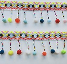 1 Metre Colourful Lace Trim Ribbon with Pom Pom