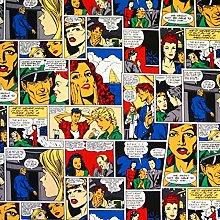 1 Metre - Comic Book Strip - 100% Cotton Linen