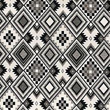 1 metre - Designer Black and White Aztec Woven