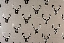 1 Metre Fryetts Stags Charcoal 100% Cotton Curtain