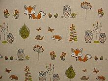 1 Metre Fryetts Woodland Fox Owls Trees Cotton