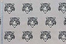 1 Metre | Grey 100% Linen Fabric Half Panama Tiger