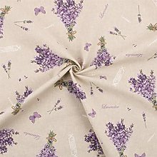 1 Metre Lavender Bunches Printed Panama Weave