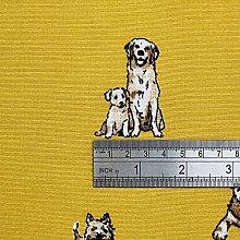 1 Metre   Mustard Yellow 100% Linen Fabric Shabby
