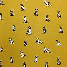 1 Metre – Yellow Ochre Shabby Dogs Popart Cotton