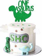 1 Pack Dinosaur One Cake Topper Green Glitter