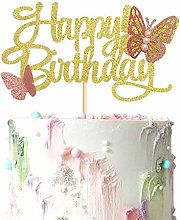 1 Pack Gold Butterfly Happy Birthday Cake Topper