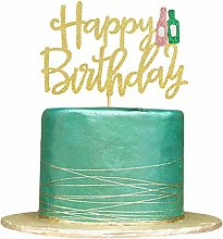 1 Pack Gold Glitter Happy Birthday Cake Topper