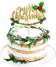 1 Pack Merry Christmas Cake Topper Glitter Happy