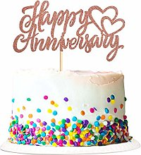 1 Pack Paper Rose Gold Happy Anniversary Cake