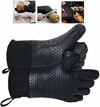 1 Pair, Black Silicone Oven Gloves,Heat