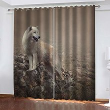 1 Pair Blackout Curtains Animal wolf Total