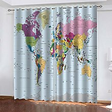 1 Pair Blackout Curtains Color world map Total