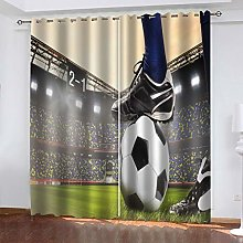 1 Pair Blackout Curtains Creative football art