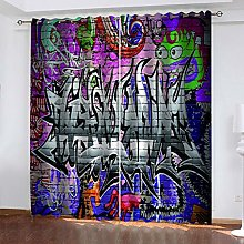 1 Pair Blackout Curtains Creative graffiti art
