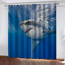 1 Pair Blackout Curtains Marine life shark Total