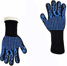 1 Pair Fireproof Gloves Barbeque Kevlar 800 Degree
