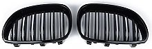 1 Pair Gloss Black Front Kidney Grill Double Slat