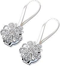 1 Pair Magnetic Diamond Flower Curtain Clips