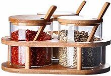 1 Set Condiment Spice Jars Glass Seasoning