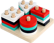 1 Set Rubber Wood Geometric Matching Board Blocks Puzzle Toys for Kids
