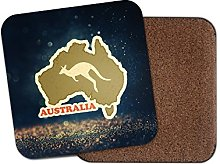 1 x Australia Cork Backed Drinks Coaster for Tea &