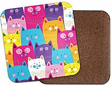 1 x Colourful Cats Coaster - Funky Cute Kitten