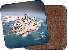 1 x Flying Pig Cork Backed Drinks Coaster for Tea