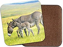 1 x Mother & Baby Donkey Coaster - Foal Horse Cute