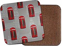 1 x Red Telephone Box Coaster - Phone London