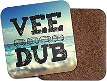 1 x Vee Dub Campervan Cork Backed Drinks Coaster