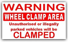 1 x Wheel Clamping,Clamp Area Sticker-Red on