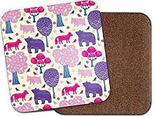 1 x Woodland Animals Coaster - Fox Bear Pink