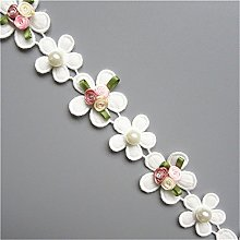 1 Yard Cotton Flower with Pearl Beads Lace Edge