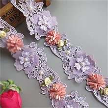 1 Yard Pearl Beaded with 3D Flower Polyester Lace