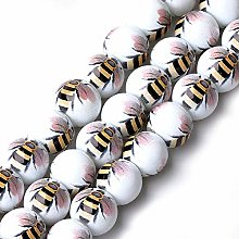 10 Bee Beads - 12mm - White - Printed Glass - Wasp