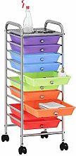 10 Drawer Rainbow Storage Trolley, Plastic