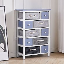10 Drawers Storage Wooden Woven Basket Tidy