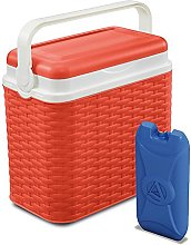 10 Litre Rattan Cooler Box Orange