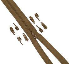10 Metres Beige Continuous Zipping + 20 Zips