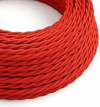 10 Metres - Red 3 Core Vintage Retro Braided